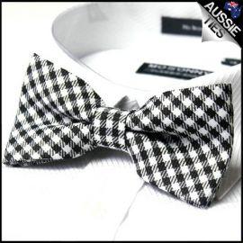 Black & White Check Bow Tie