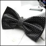 Black with White Diamonds Bow Tie