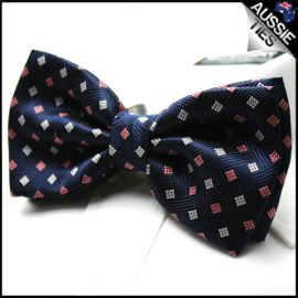 Navy Blue with Red + White Diamonds Bow Tie