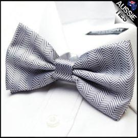 White Zig Zags Bow Tie