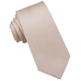 Beige Tan Ribbed 6cm Mens Slim Tie