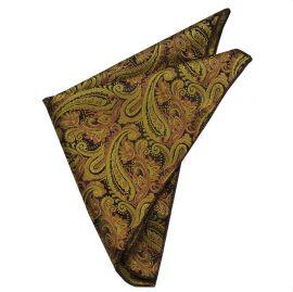 gold & black paisley design pocket square