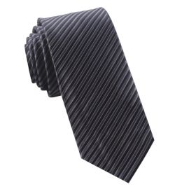 Charcoal & Black Thin Stripes Mens Tie