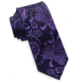 Black and Purple Paisley Mens Skinny Necktie