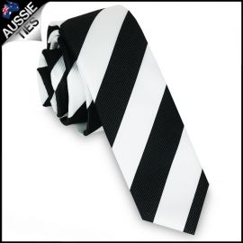 Mens Black & White Stripes Skinny Tie