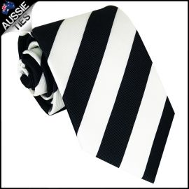 Mens Black & White Stripes Sports Tie