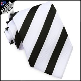 Black, White & Ivory Stripes Mens Tie