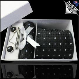 Black Diamond Texture with Polka Dots Tie Set