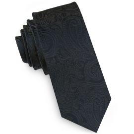 Black Paisley Embossed Mens Skinny Tie