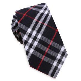 Black, Red & White Tartan Plaid Slim Tie
