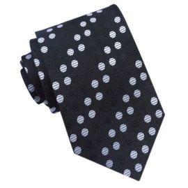 Black & White Polka Dots Diagonal Stripes Mens Tie