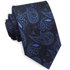 Black with Blue Paisley Mens Tie