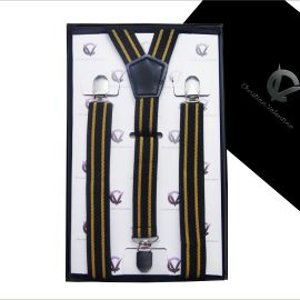 black with gold stripes braces