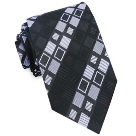 Black with Grey & White Squares Mens Tie