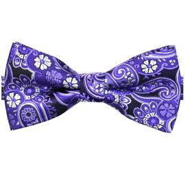 Black with Purple & White Floral Paisley Bow Tie