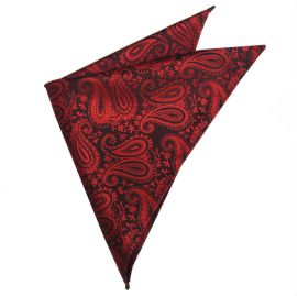 Black with Red Paisley Pocket Square