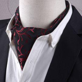 Men's Black with Red Swirl Design Ascot Cravat