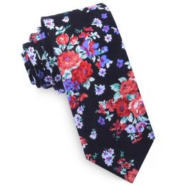 Black with Red. White & Purple Floral Pattern Men's Skinny Tie