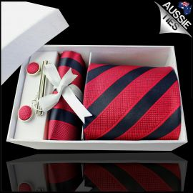 Black with Textured Red Stripes Tie Set