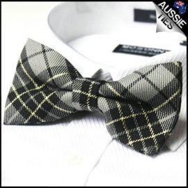 Grey, Black & Gold Tartan Bow Tie