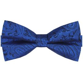 blue and black paisley bow tie