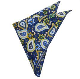 Blue & Yellow Paisley Pocket Square