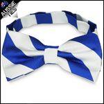 Mens Royal Blue & White Stripes Bow Tie
