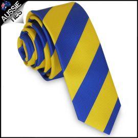 Mens Blue & Yellow Stripes Skinny Tie