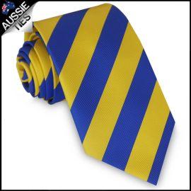 Mens Blue & Yellow Stripes Sports Tie