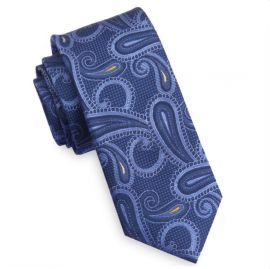 Blue and Yellow Paisley Mens Skinny Tie
