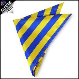 Mens Blue & Yellow Striped Pocket Square Handkerchief