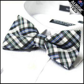 Blue Black White & Green Tartan Bow Tie