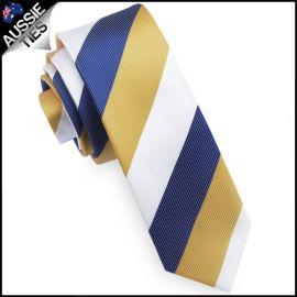 Mens Blue, Yellow & White Stripes Skinny Tie