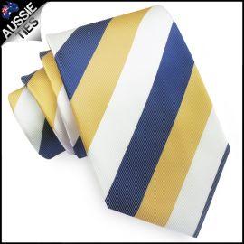 Mens Blue, Yellow & White Stripes Sports Tie
