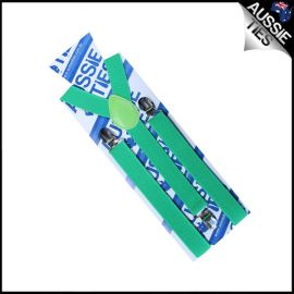 Boys Bright Green Braces Suspenders