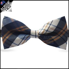 Brown, Blue & Grey Tartan Plaid Bow Tie