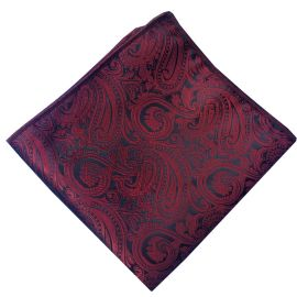 burgundy and black paisley pocket square