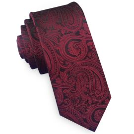 burgundy and black paisley skinny tie