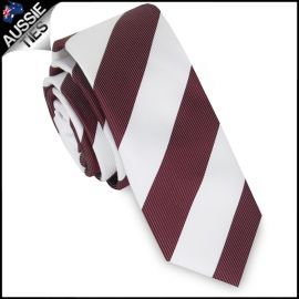 Mens Burgundy & White Stripes Skinny Tie