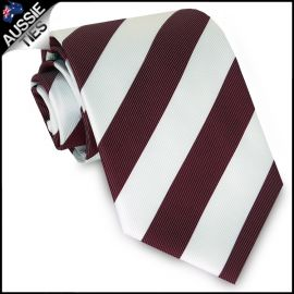 Mens Burgundy & White Stripes Sports Tie