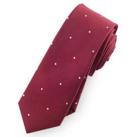 burgundy pin dot skinny tie