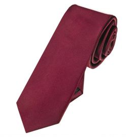 Mens Burgundy Red Skinny Tie