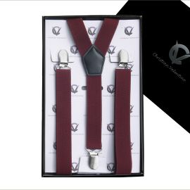 Men's Burgundy Braces Suspenders Y2.5cm