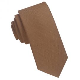 Coffee Brown Cotton Blend Skinny Tie