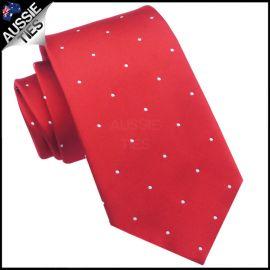 Scarlet Red Pin Dot Mens Tie