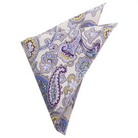 Cream with Purple Floral Paisley Pocket Square