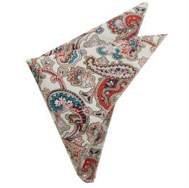 Cream with Red Floral Paisley Pocket Square