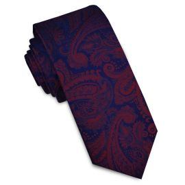 Dark Blue & Red Paisley Mens Skinny Necktie