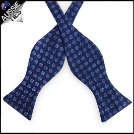 Dark Blue with Light Blue & White Check Pattern Self Tie Bow Tie