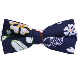 Dark Blue with Spring Flowers Bow Tie